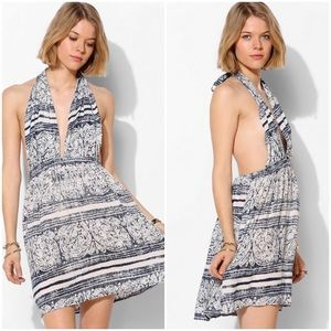 Urban Outfitters Open Back Halter Printed Dress M